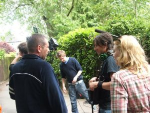Saranne on the set of 2009s The Shoe 300x225 - How did I get into producing films?